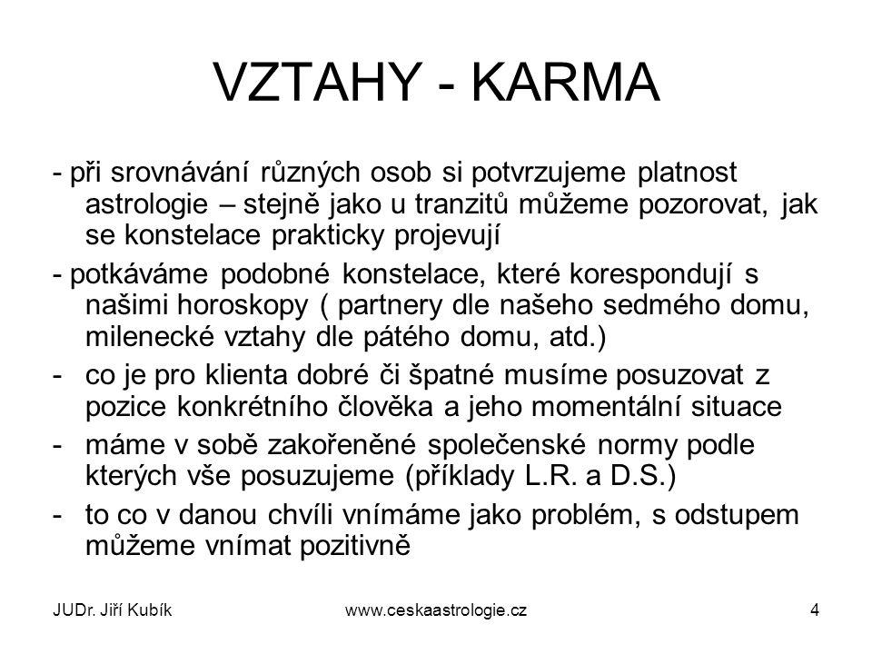 JUDr. Jiří Kubíkwww.ceskaastrologie.cz4 VZTAHY - KARMA - při srovnávání různých osob si potvrzujeme platnost astrologie – stejně jako u tranzitů můžem