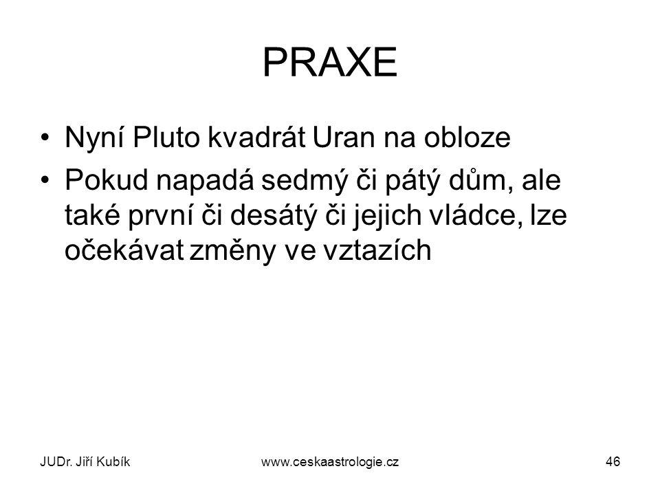 JUDr. Jiří Kubíkwww.ceskaastrologie.cz46 PRAXE Nyní Pluto kvadrát Uran na obloze Pokud napadá sedmý či pátý dům, ale také první či desátý či jejich vl