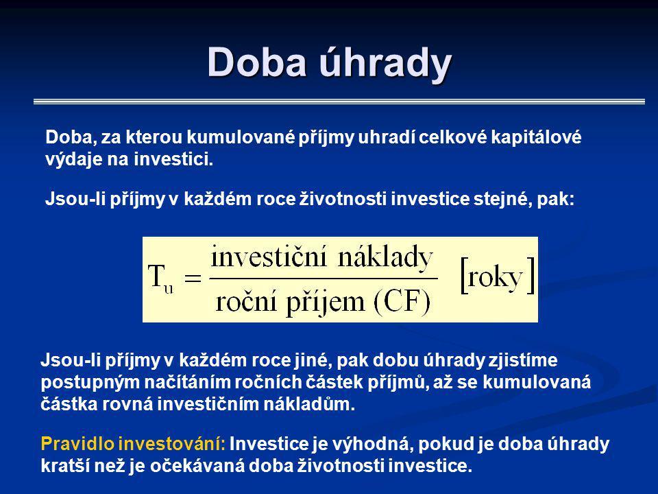 Doba úhrady Doba, za kterou kumulované příjmy uhradí celkové kapitálové výdaje na investici. Jsou-li příjmy v každém roce životnosti investice stejné,