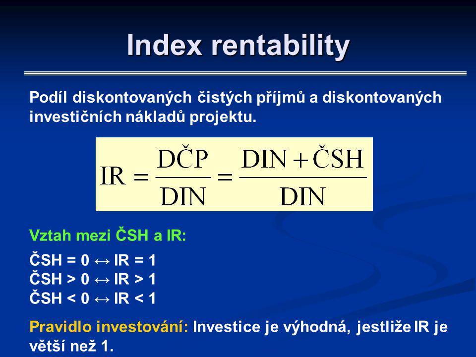 Index rentability Podíl diskontovaných čistých příjmů a diskontovaných investičních nákladů projektu. Vztah mezi ČSH a IR: ČSH = 0 ↔ IR = 1 ČSH > 0 ↔