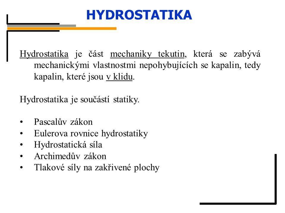 HYDROSTATIKA Hydrostatika je část mechaniky tekutin, která se zabývá mechanickými vlastnostmi nepohybujících se kapalin, tedy kapalin, které jsou v kl