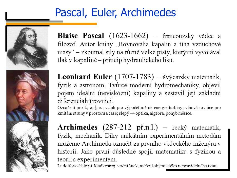 """Pascal, Euler, Archimedes Blaise Pascal (1623-1662) – francouzský vědec a filozof. Autor knihy """"Rovnováha kapalin a tíha vzduchové masy"""" – zkoumal síl"""