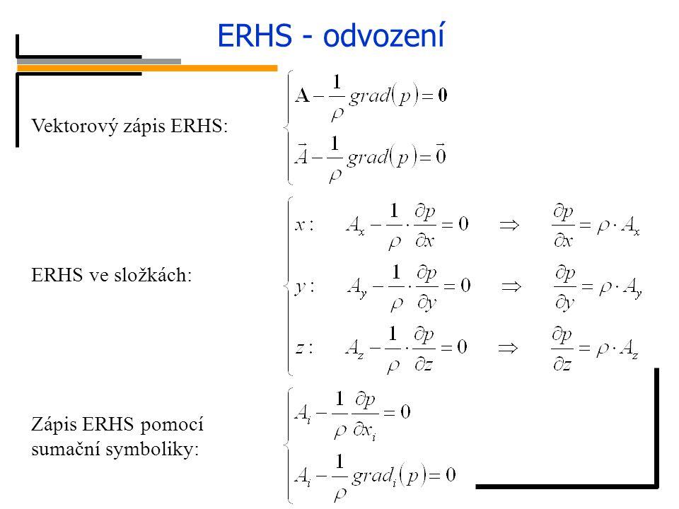 ERHS - odvození síly tlakové síly hmotnostní Vektorový zápis ERHS: ERHS ve složkách: Zápis ERHS pomocí sumační symboliky: