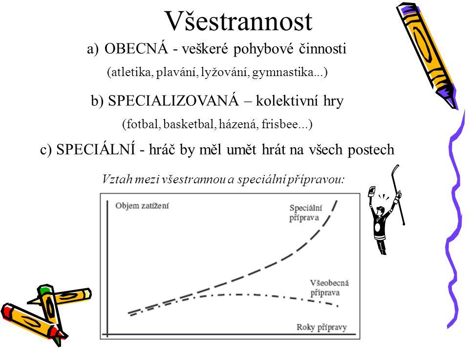 Všestrannost a)OBECNÁ - veškeré pohybové činnosti (atletika, plavání, lyžování, gymnastika...) b) SPECIALIZOVANÁ – kolektivní hry (fotbal, basketbal,