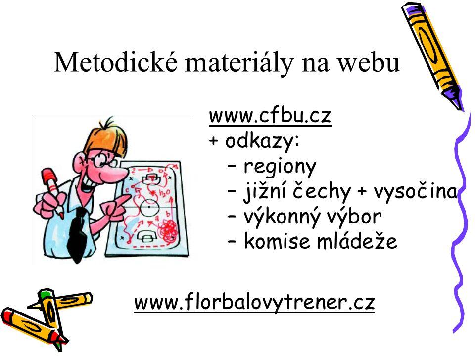 Metodické materiály na webu www.cfbu.cz + odkazy: – regiony – jižní čechy + vysočina – výkonný výbor – komise mládeže www.florbalovytrener.cz