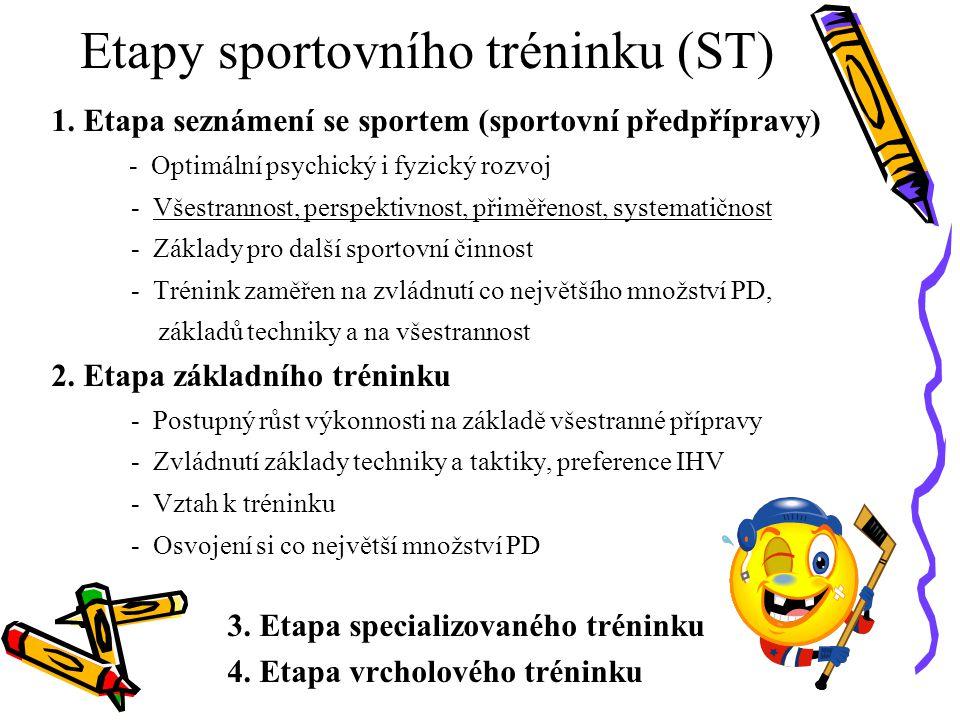Etapy sportovního tréninku (ST) 1. Etapa seznámení se sportem (sportovní předpřípravy) - Optimální psychický i fyzický rozvoj - Všestrannost, perspekt