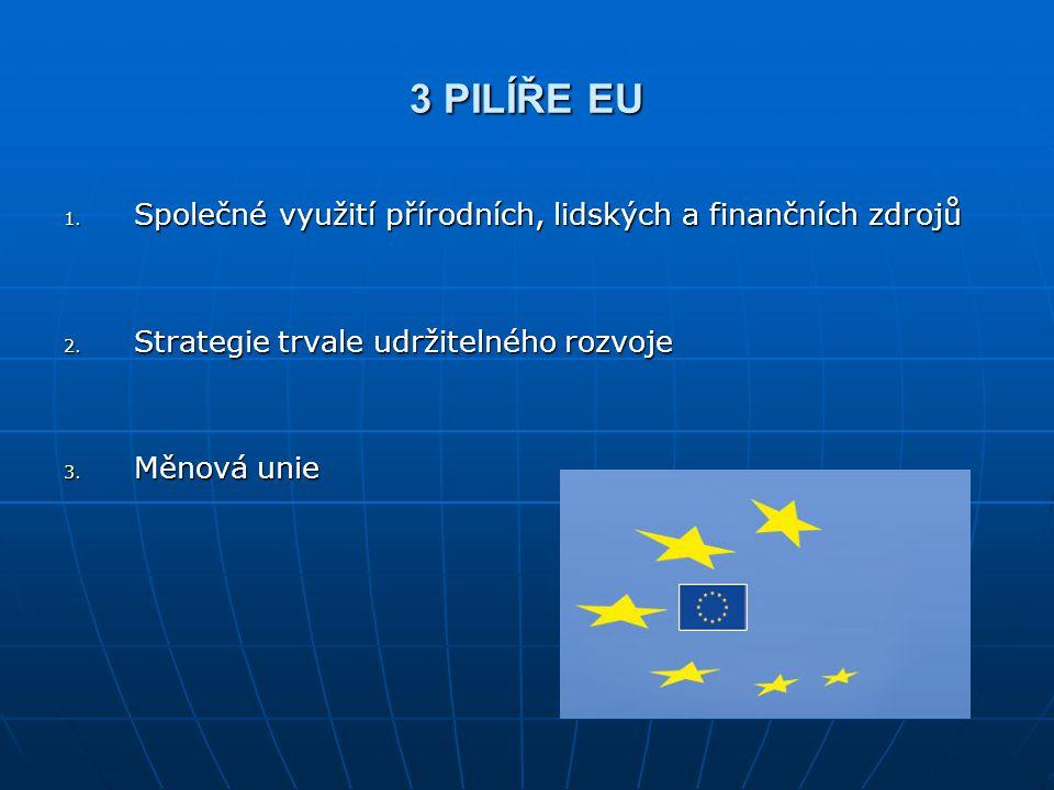 3 PILÍŘE EU 1. Společné využití přírodních, lidských a finančních zdrojů 2. Strategie trvale udržitelného rozvoje 3. Měnová unie