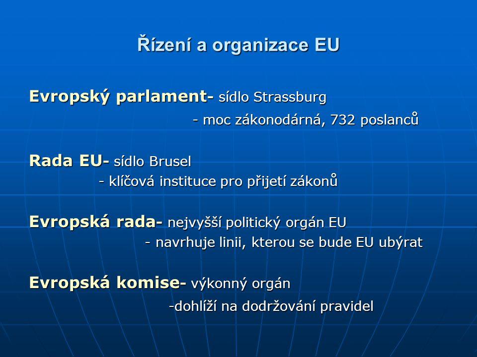 Řízení a organizace EU Evropský parlament - sídlo Strassburg - moc zákonodárná, 732 poslanců - moc zákonodárná, 732 poslanců Rada EU - sídlo Brusel -