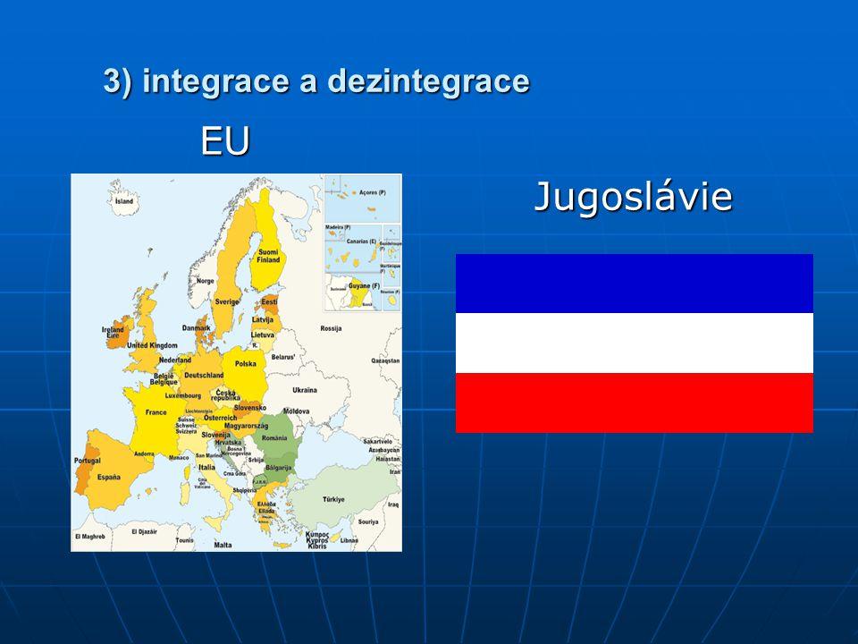 3) integrace a dezintegrace EU EU Jugoslávie Jugoslávie
