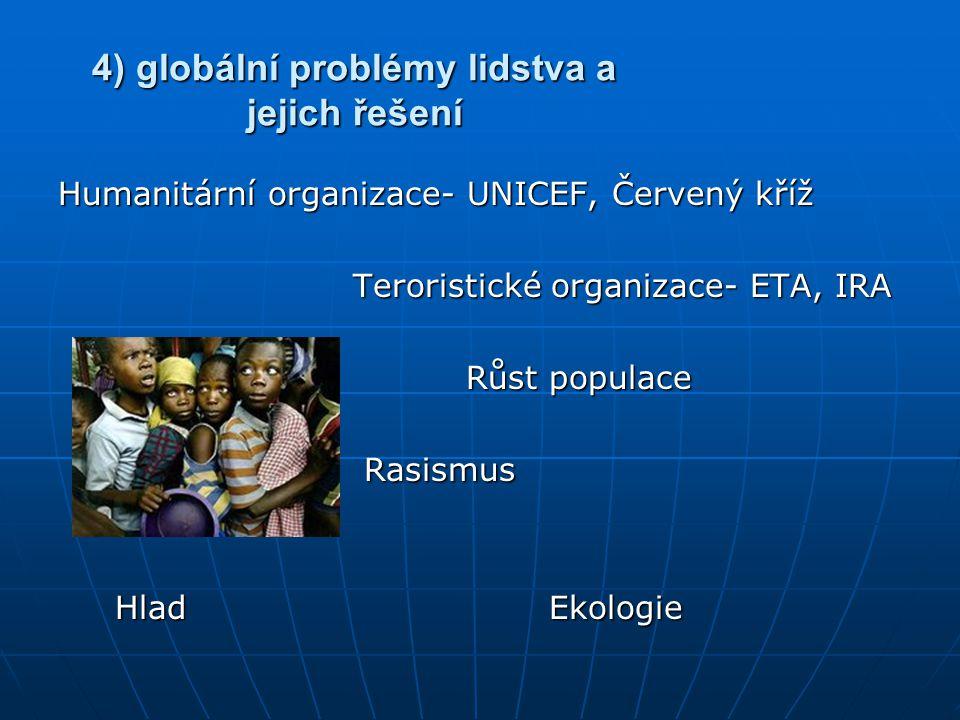 4) globální problémy lidstva a jejich řešení Humanitární organizace- UNICEF, Červený kříž Teroristické organizace- ETA, IRA Teroristické organizace- E