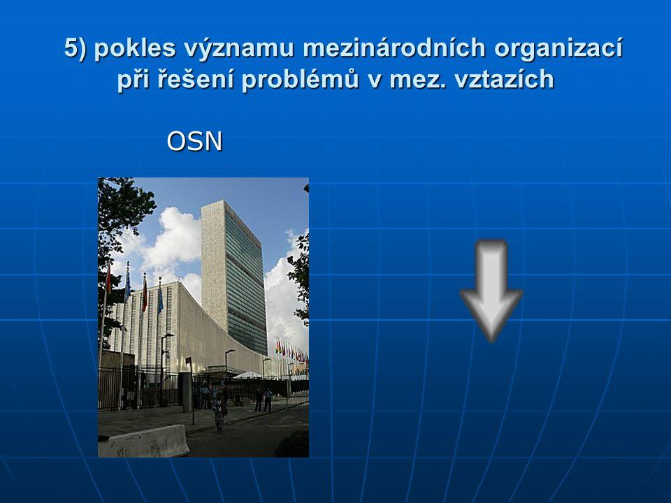 5) pokles významu mezinárodních organizací při řešení problémů v mez. vztazích 5) pokles významu mezinárodních organizací při řešení problémů v mez. v