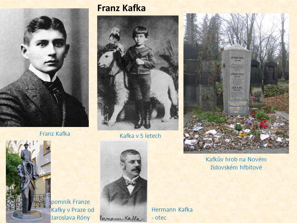 Franz Kafka Kafka v 5 letech Kafkův hrob na Novém židovském hřbitové Franz Kafka pomník Franze Kafky v Praze od Jaroslava Róny Hermann Kafka - otec