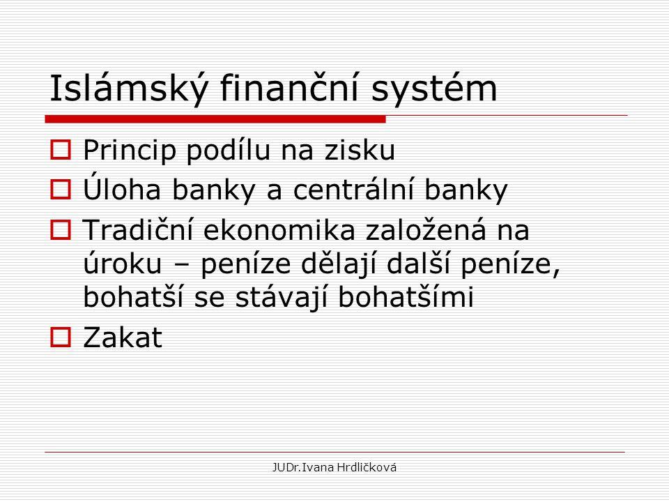Islámský finanční systém  Princip podílu na zisku  Úloha banky a centrální banky  Tradiční ekonomika založená na úroku – peníze dělají další peníze