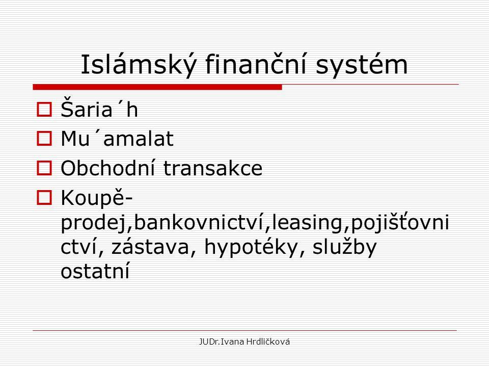 Islámský finanční systém  Šaria´h  Mu´amalat  Obchodní transakce  Koupě- prodej,bankovnictví,leasing,pojišťovni ctví, zástava, hypotéky, služby os