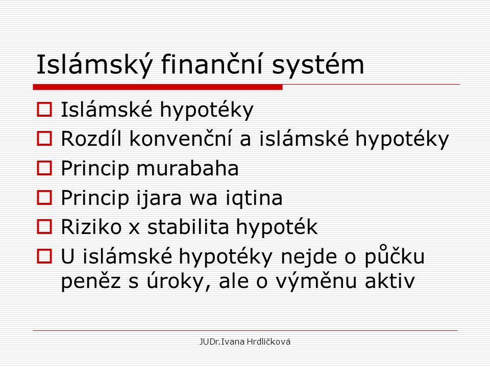 Islámský finanční systém  Islámské hypotéky  Rozdíl konvenční a islámské hypotéky  Princip murabaha  Princip ijara wa iqtina  Riziko x stabilita