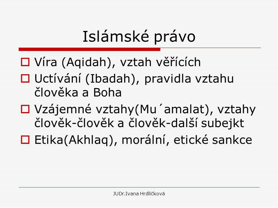 JUDr.Ivana Hrdličková Islámské právo  Víra (Aqidah), vztah věřících  Uctívání (Ibadah), pravidla vztahu člověka a Boha  Vzájemné vztahy(Mu´amalat),