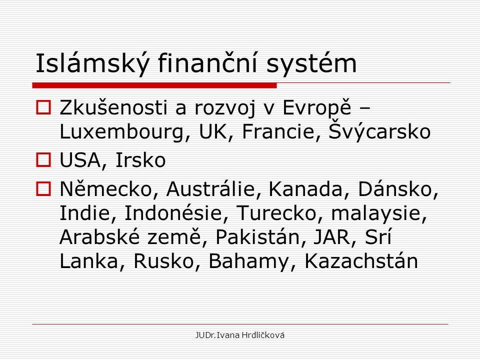 Islámský finanční systém  Zkušenosti a rozvoj v Evropě – Luxembourg, UK, Francie, Švýcarsko  USA, Irsko  Německo, Austrálie, Kanada, Dánsko, Indie,