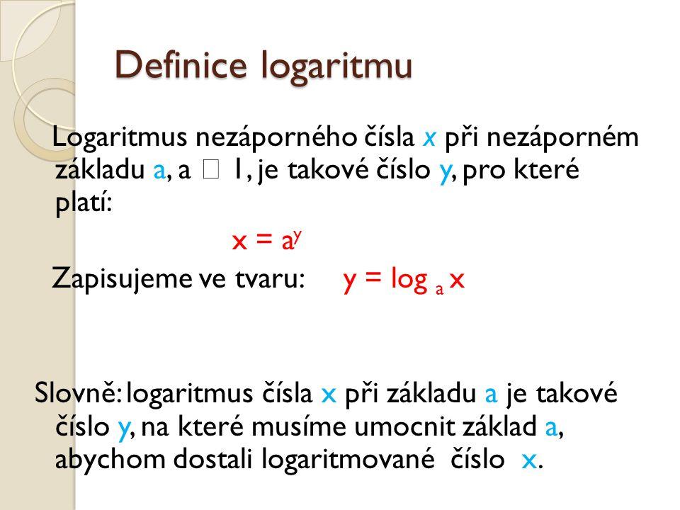 Definice logaritmu Logaritmus nezáporného čísla x při nezáporném základu a, a  1, je takové číslo y, pro které platí: x = a y Zapisujeme ve tvaru: y