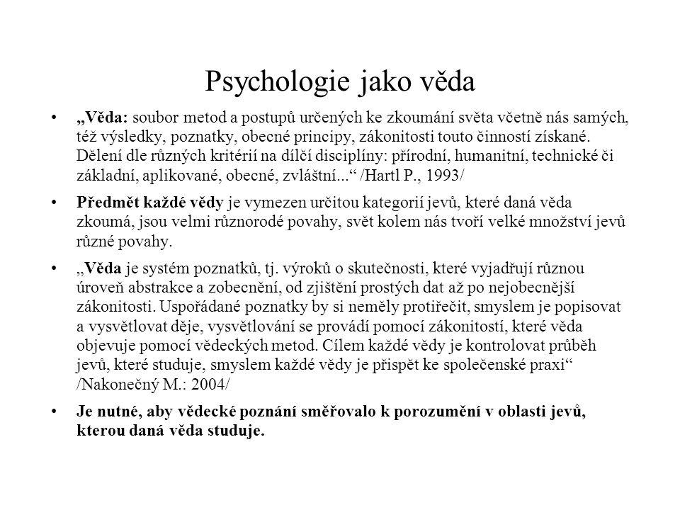 """Psychologie jako věda """"Věda: soubor metod a postupů určených ke zkoumání světa včetně nás samých, též výsledky, poznatky, obecné principy, zákonitosti"""