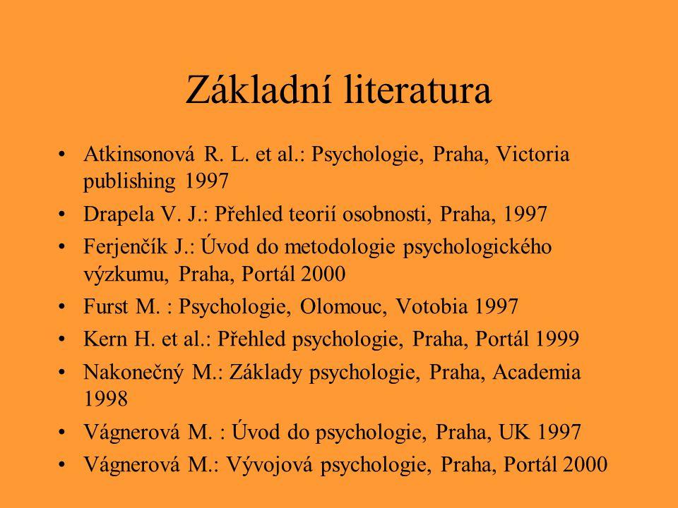 Základní literatura Atkinsonová R. L. et al.: Psychologie, Praha, Victoria publishing 1997 Drapela V. J.: Přehled teorií osobnosti, Praha, 1997 Ferjen
