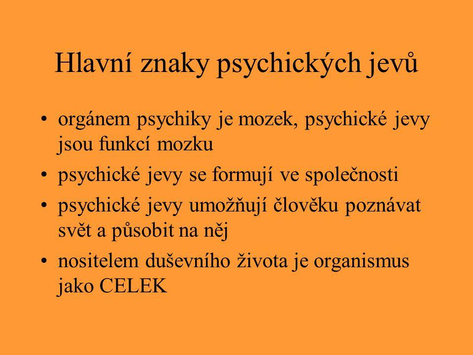 Hlavní znaky psychických jevů orgánem psychiky je mozek, psychické jevy jsou funkcí mozku psychické jevy se formují ve společnosti psychické jevy umož