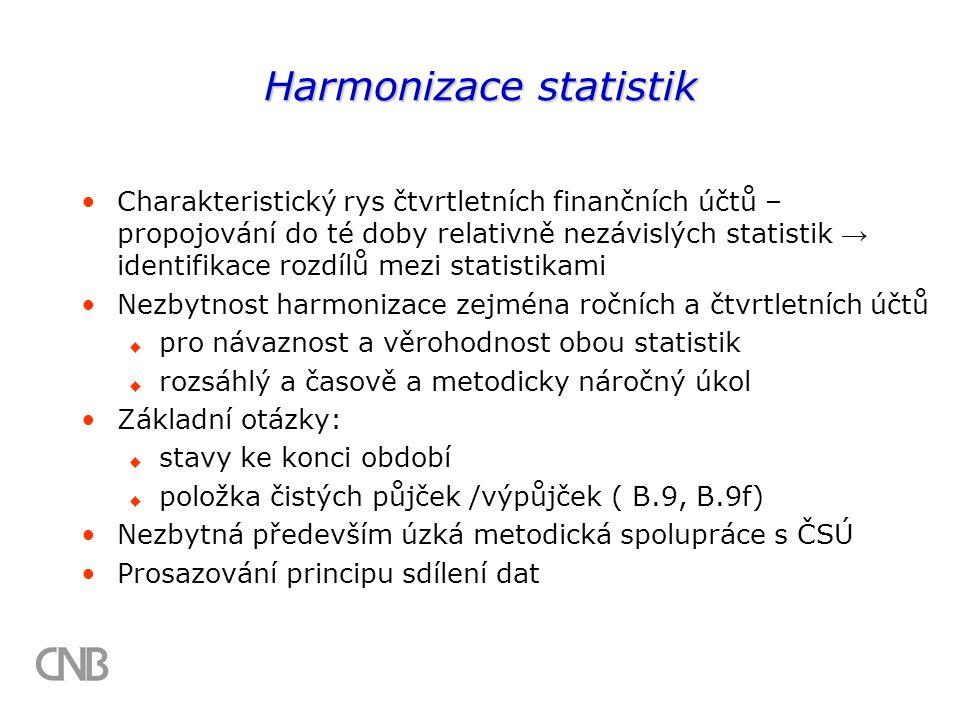 Harmonizace statistik Charakteristický rys čtvrtletních finančních účtů – propojování do té doby relativně nezávislých statistik → identifikace rozdílů mezi statistikami Nezbytnost harmonizace zejména ročních a čtvrtletních účtů  pro návaznost a věrohodnost obou statistik  rozsáhlý a časově a metodicky náročný úkol Základní otázky:  stavy ke konci období  položka čistých půjček /výpůjček ( B.9, B.9f) Nezbytná především úzká metodická spolupráce s ČSÚ Prosazování principu sdílení dat