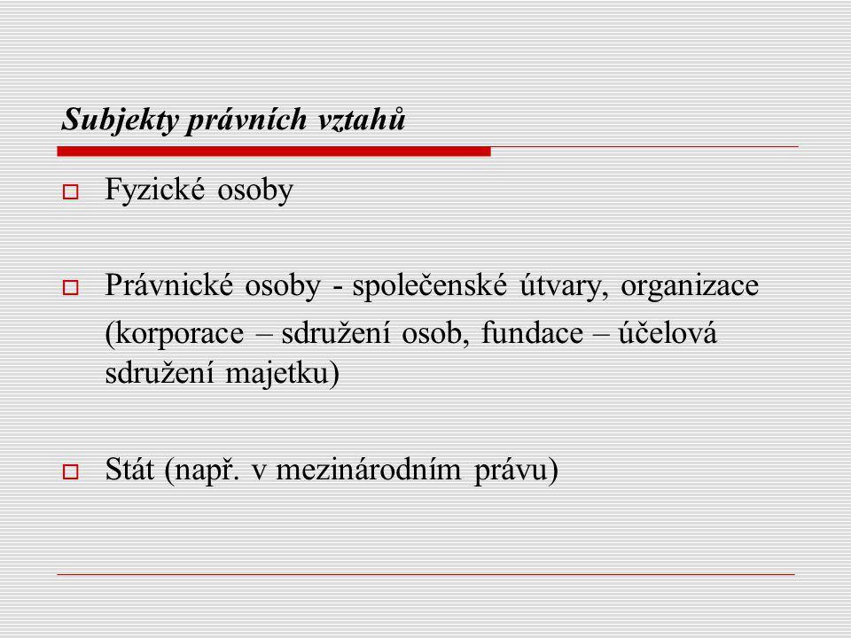 Subjekty právních vztahů  Fyzické osoby  Právnické osoby - společenské útvary, organizace (korporace – sdružení osob, fundace – účelová sdružení maj