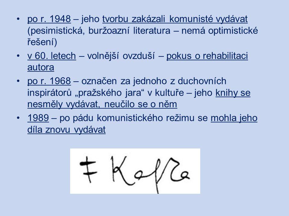 """Ortel povídka – vytvořil ji během osmi hodin – psal ji ve stavu na hranici transu vypsal se v ní ze svého konfliktního vztahu k otci syn je v pozici obžalovaného, který se provinil jen tím, že je synem otec ho zavrhl a odsoudil k smrti utonutím Kafka napsal dopis otci, ale nikdy mu ho neposlal, ani neukázal: """"… V Tvé přítomnosti jsem se zajíkal, koktal, i to Ti ještě bylo příliš, nakonec jsem mlčel, nejdřív snad ze vzdoru, potom proto, že jsem před Tebou nemohl ani myslet, ani mluvit."""