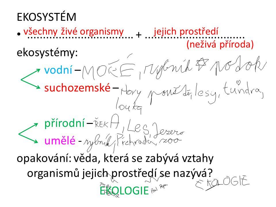 EKOSYSTÉM.................................. +................................ ekosystémy: vodní – suchozemské – přírodní – umělé - opakování: věda, kt