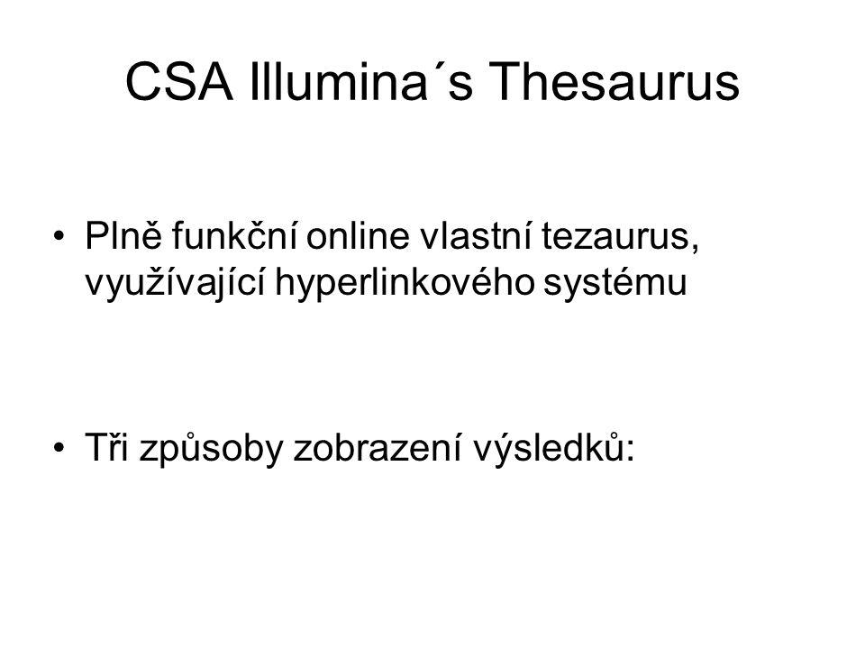 CSA Illumina´s Thesaurus Plně funkční online vlastní tezaurus, využívající hyperlinkového systému Tři způsoby zobrazení výsledků: