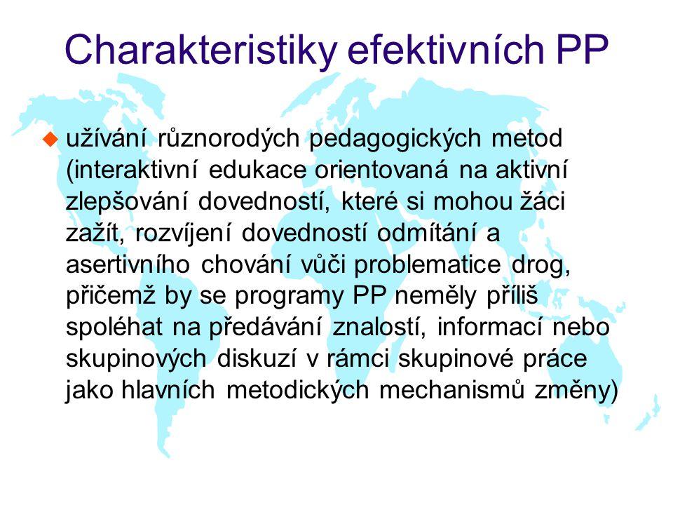Charakteristiky efektivních PP u užívání různorodých pedagogických metod (interaktivní edukace orientovaná na aktivní zlepšování dovedností, které si mohou žáci zažít, rozvíjení dovedností odmítání a asertivního chování vůči problematice drog, přičemž by se programy PP neměly příliš spoléhat na předávání znalostí, informací nebo skupinových diskuzí v rámci skupinové práce jako hlavních metodických mechanismů změny)