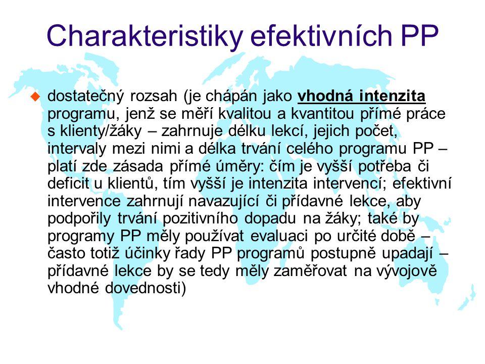 Charakteristiky efektivních PP u dostatečný rozsah (je chápán jako vhodná intenzita programu, jenž se měří kvalitou a kvantitou přímé práce s klienty/