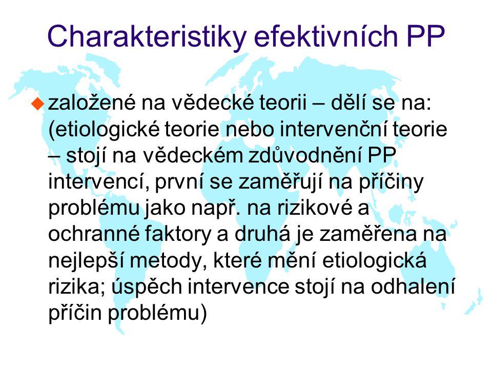 Charakteristiky efektivních PP u založené na vědecké teorii – dělí se na: (etiologické teorie nebo intervenční teorie – stojí na vědeckém zdůvodnění PP intervencí, první se zaměřují na příčiny problému jako např.