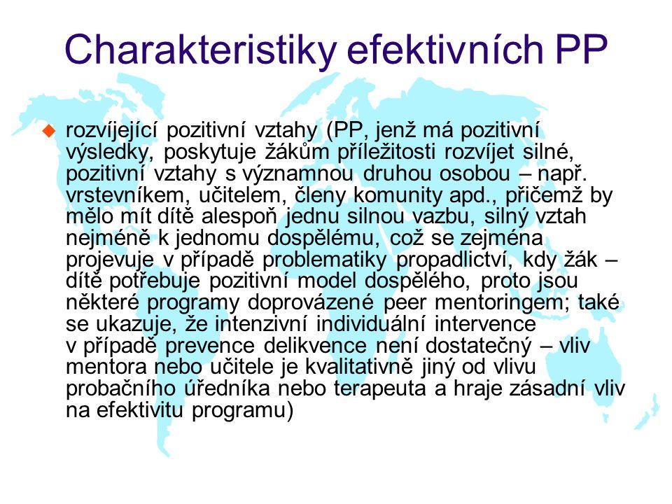 Charakteristiky efektivních PP u rozvíjející pozitivní vztahy (PP, jenž má pozitivní výsledky, poskytuje žákům příležitosti rozvíjet silné, pozitivní vztahy s významnou druhou osobou – např.
