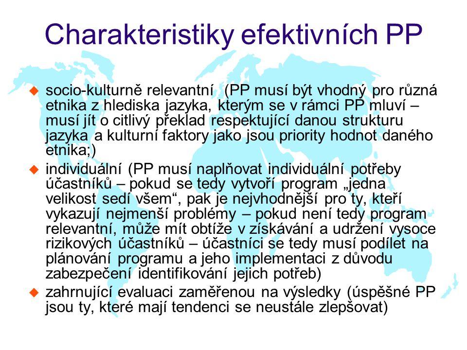 """Charakteristiky efektivních PP u socio-kulturně relevantní (PP musí být vhodný pro různá etnika z hlediska jazyka, kterým se v rámci PP mluví – musí jít o citlivý překlad respektující danou strukturu jazyka a kulturní faktory jako jsou priority hodnot daného etnika;) u individuální (PP musí naplňovat individuální potřeby účastníků – pokud se tedy vytvoří program """"jedna velikost sedí všem , pak je nejvhodnější pro ty, kteří vykazují nejmenší problémy – pokud není tedy program relevantní, může mít obtíže v získávání a udržení vysoce rizikových účastníků – účastníci se tedy musí podílet na plánování programu a jeho implementaci z důvodu zabezpečení identifikování jejich potřeb) u zahrnující evaluaci zaměřenou na výsledky (úspěšné PP jsou ty, které mají tendenci se neustále zlepšovat)"""
