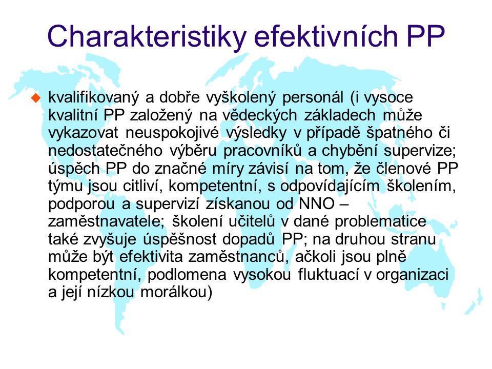 Charakteristiky efektivních PP u kvalifikovaný a dobře vyškolený personál (i vysoce kvalitní PP založený na vědeckých základech může vykazovat neuspokojivé výsledky v případě špatného či nedostatečného výběru pracovníků a chybění supervize; úspěch PP do značné míry závisí na tom, že členové PP týmu jsou citliví, kompetentní, s odpovídajícím školením, podporou a supervizí získanou od NNO – zaměstnavatele; školení učitelů v dané problematice také zvyšuje úspěšnost dopadů PP; na druhou stranu může být efektivita zaměstnanců, ačkoli jsou plně kompetentní, podlomena vysokou fluktuací v organizaci a její nízkou morálkou)