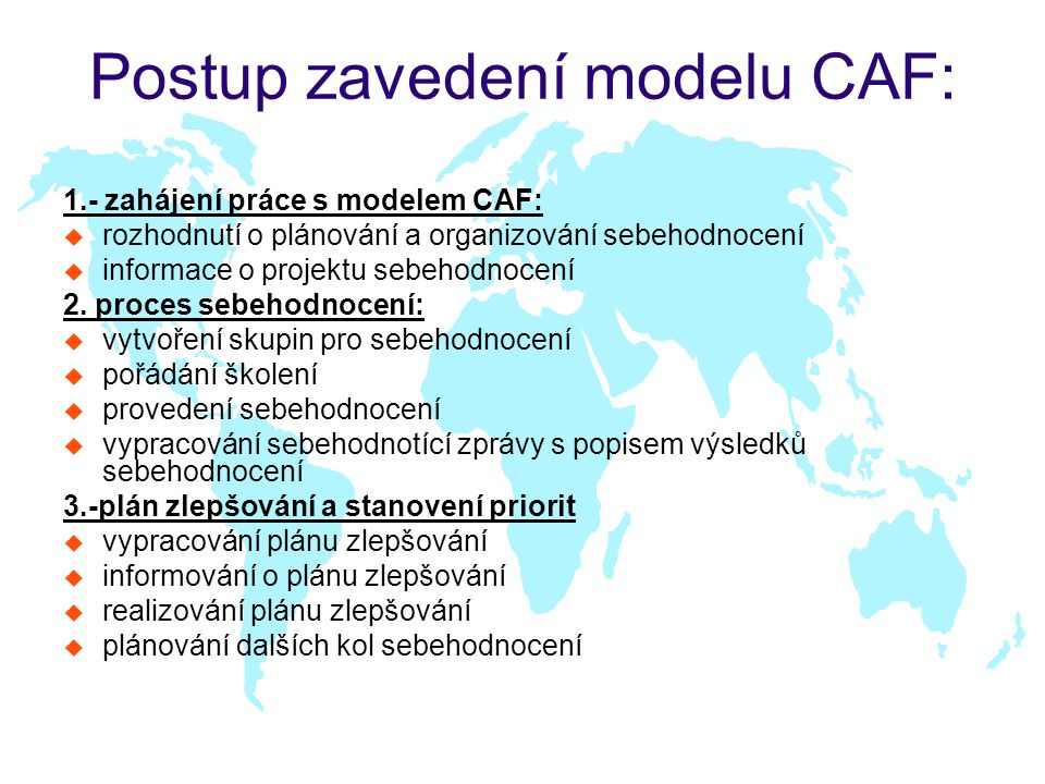 Postup zavedení modelu CAF: 1.- zahájení práce s modelem CAF: u rozhodnutí o plánování a organizování sebehodnocení u informace o projektu sebehodnocení 2.
