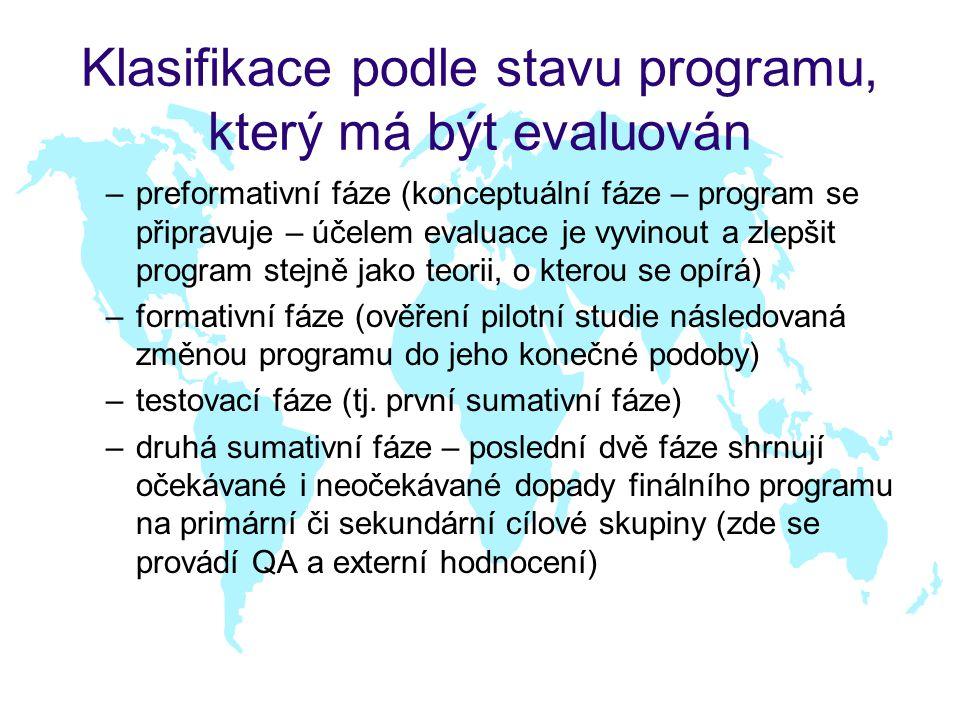 Klasifikace podle stavu programu, který má být evaluován –preformativní fáze (konceptuální fáze – program se připravuje – účelem evaluace je vyvinout a zlepšit program stejně jako teorii, o kterou se opírá) –formativní fáze (ověření pilotní studie následovaná změnou programu do jeho konečné podoby) –testovací fáze (tj.