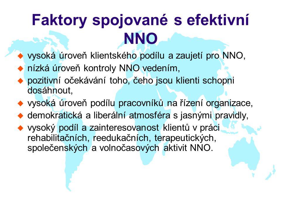 Faktory spojované s efektivní NNO u vysoká úroveň klientského podílu a zaujetí pro NNO, u nízká úroveň kontroly NNO vedením, u pozitivní očekávání toh