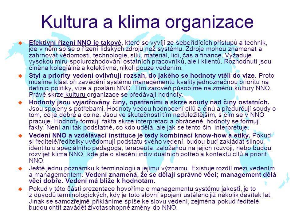 Kultura a klima organizace u Efektivní řízení NNO je takové, které se vyvíjí ze sebeřídících přístupů a technik, jde v něm spíše o řízení lidských zdrojů než systému.
