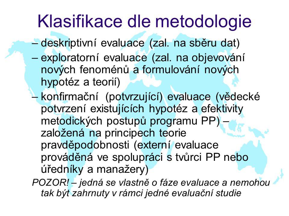 Klasifikace dle metodologie –deskriptivní evaluace (zal.