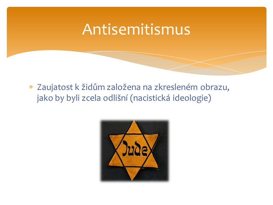  Zaujatost k židům založena na zkresleném obrazu, jako by byli zcela odlišní (nacistická ideologie) Antisemitismus