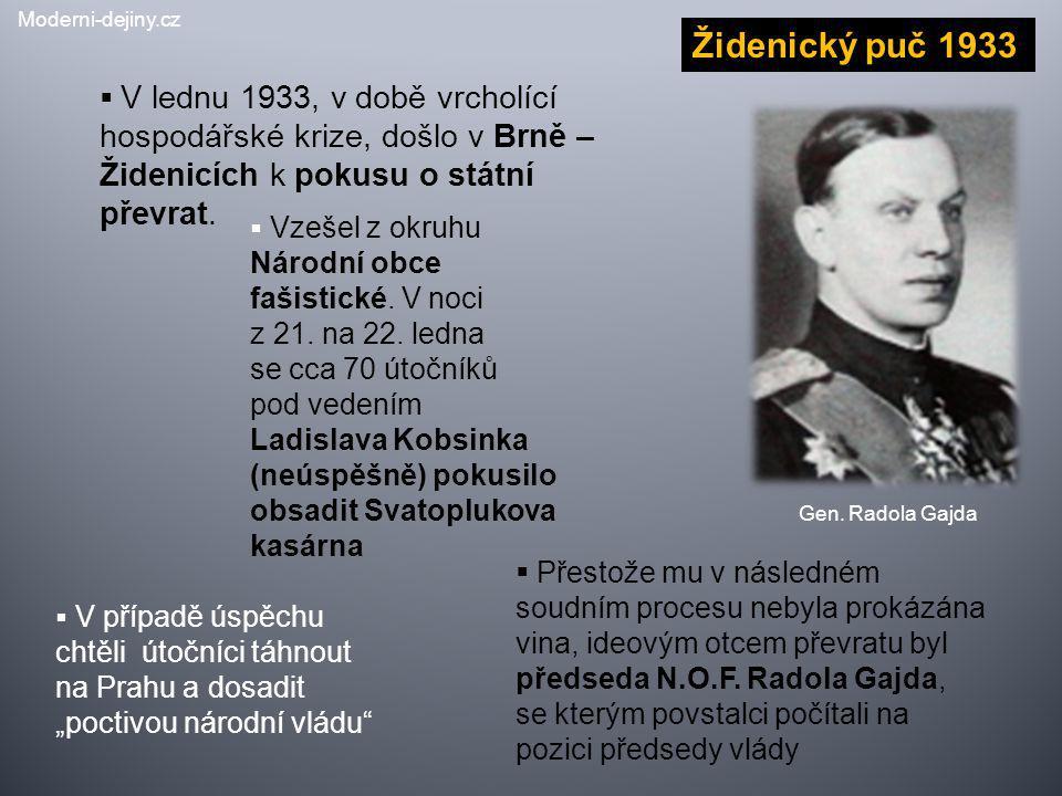 Židenický puč 1933  V lednu 1933, v době vrcholící hospodářské krize, došlo v Brně – Židenicích k pokusu o státní převrat. Gen. Radola Gajda  Vzešel
