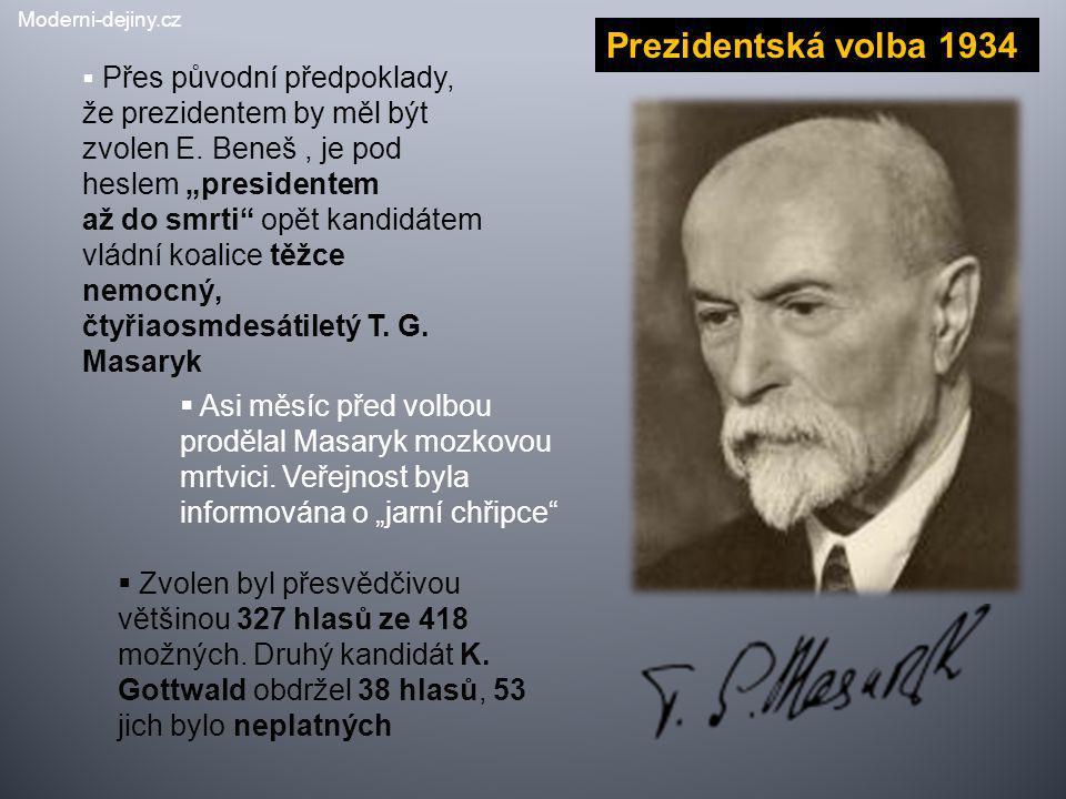 """Prezidentská volba 1934  Přes původní předpoklady, že prezidentem by měl být zvolen E. Beneš, je pod heslem """"presidentem až do smrti"""" opět kandidátem"""