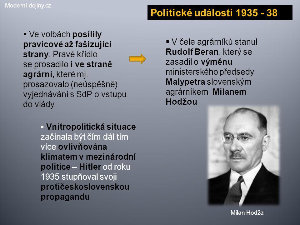 Politické události 1935 - 38  Ve volbách posílily pravicové až fašizující strany. Pravé křídlo se prosadilo i ve straně agrární, které mj. prosazoval