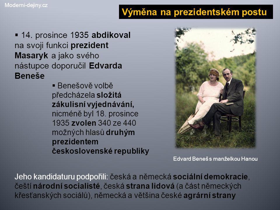  14. prosince 1935 abdikoval na svoji funkci prezident Masaryk a jako svého nástupce doporučil Edvarda Beneše  Benešově volbě předcházela složitá zá