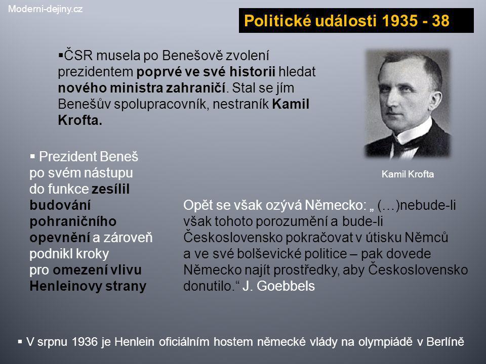  ČSR musela po Benešově zvolení prezidentem poprvé ve své historii hledat nového ministra zahraničí. Stal se jím Benešův spolupracovník, nestraník Ka