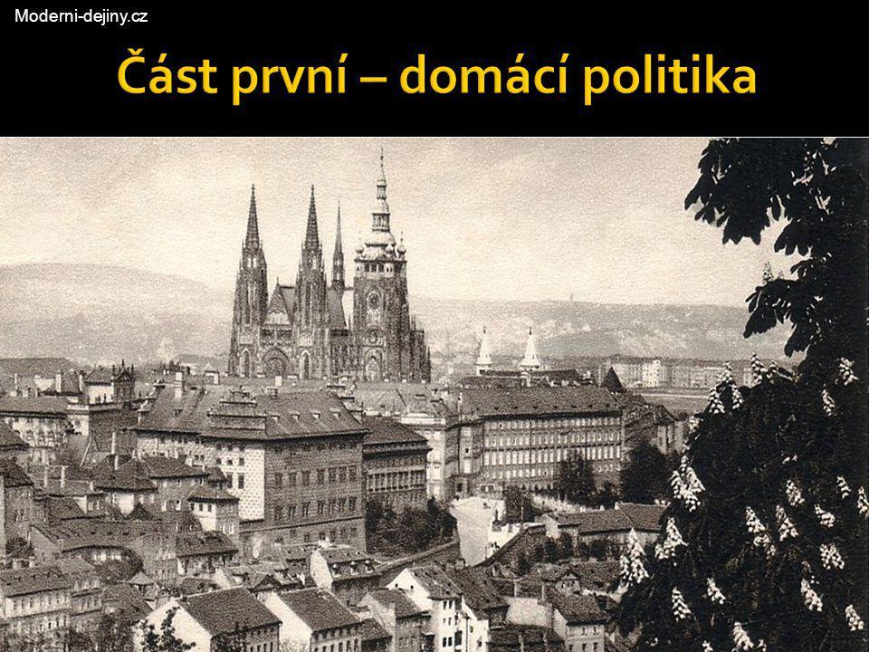  Do roku 1929 vstoupila ČSR s vládou takzvané občanské (panské) koalice, v jejímž čele stál v té době již těžce nemocný agrárník Antonín Švehla  Vládu tvořilo široké spektrum pravicových stran, včetně německých agrárníků a HSL'S Jozef Tiso, HSL'S, ministr zdravotnictví a tělovýchovy Československá politika 1929 Antonín Švehla, předseda vlády Franz Spina, německý agrárník, ministr veřejných prací Moderni-dejiny.cz