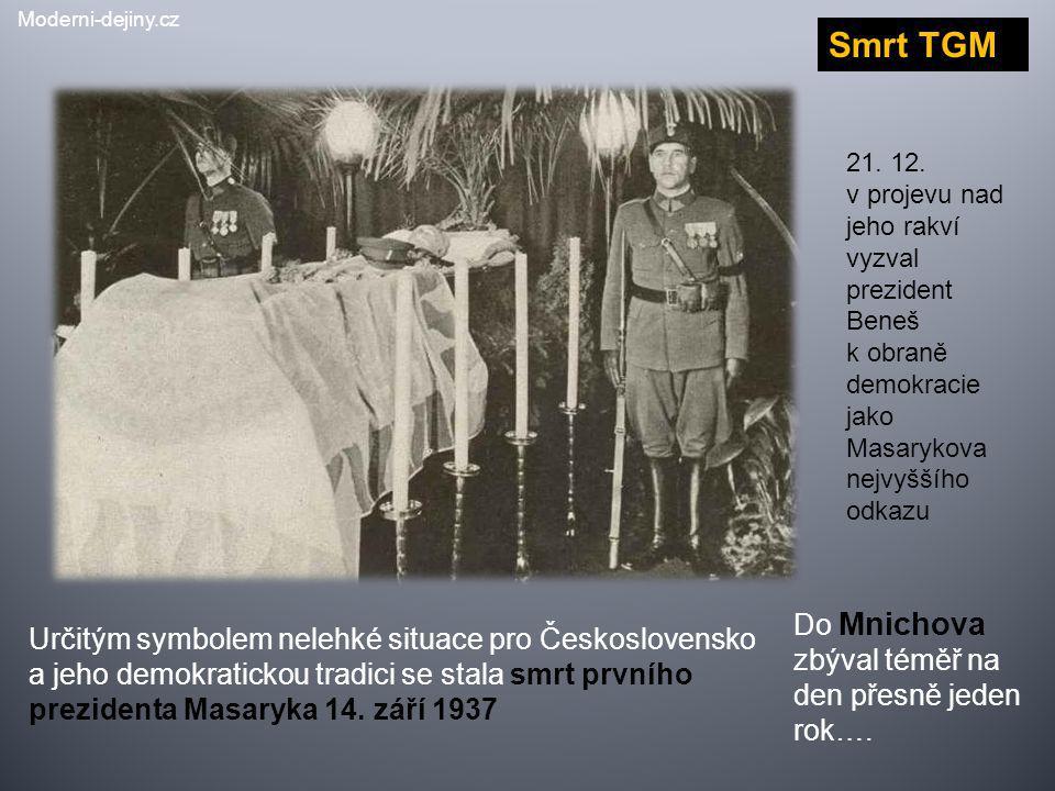 Určitým symbolem nelehké situace pro Československo a jeho demokratickou tradici se stala smrt prvního prezidenta Masaryka 14. září 1937 Smrt TGM 21.