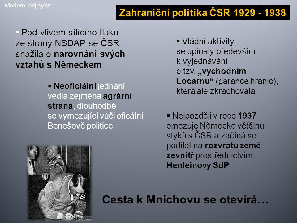 Zahraniční politika ČSR 1929 - 1938  Pod vlivem sílícího tlaku ze strany NSDAP se ČSR snažila o narovnání svých vztahů s Německem  Neoficiální jedná